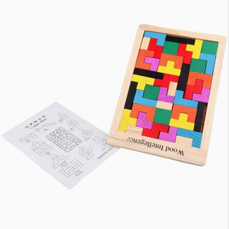 Kids Leker Colorful Wooden Tangram Brain Teaser Puzzle Leker Tetris - Puslespill - Bilde 3