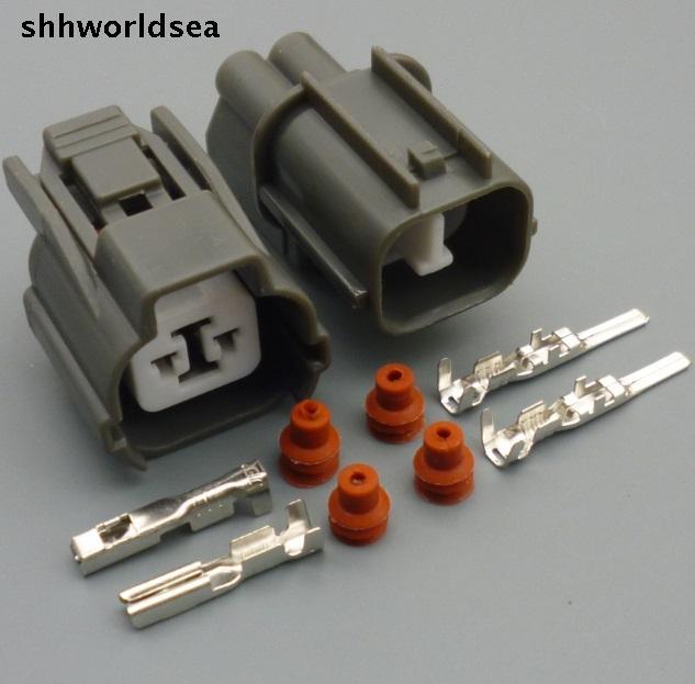 shhworldsea 5/30/100sets 2.0mm 2 pin Reverse male & female crank sensor connector for Honda Civic horn plugs for Buick m12 aviation plug 8pins stragiht female or male plugs sensor connector socket connectors