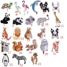 20pcs/lot Forest Animal Embroidery Patches Kids Clothes Decoration Sticker Panda Whale Rabbit Sewing Accessories Wholesale