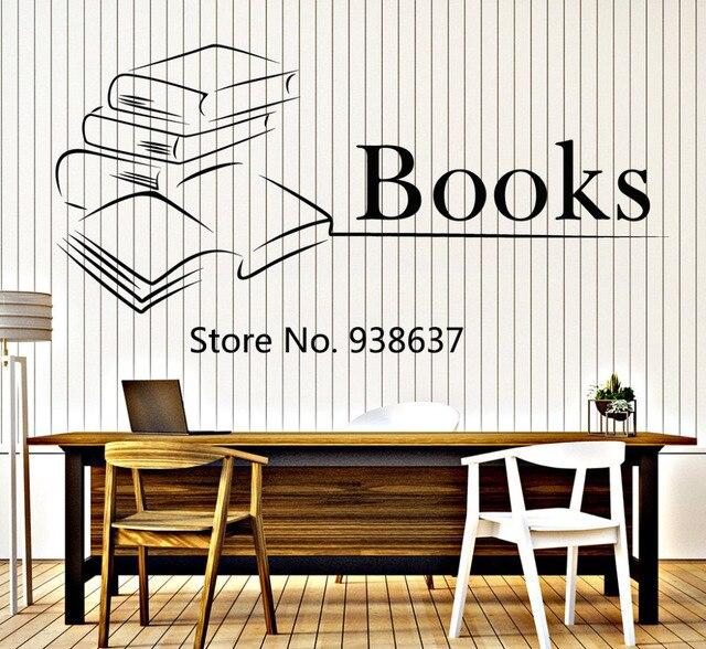 Boek Muur Vinyl Decal Boeken Lezen Bookstore Bibliotheek Interieur ...
