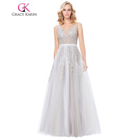 Grace Karin Robe De Soiree Longue Sexy Appliques Tulle Evening Dress Deep V Back Ball Gowns