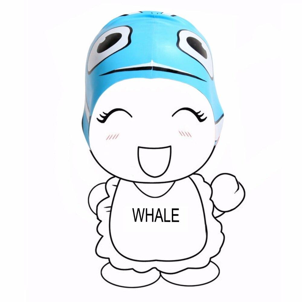 Kids Boy Girl Junior Youth Silicone Cute Cartoon Fish Shape Swim Cap Waterproof Soft Light