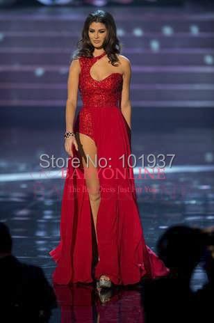 3b7d047f1 الآنسة ملكة جمال الكون $99.99 المكسيك-- كارينا غونزاليس شقتم الأحمر طويل مثير  فساتين المسابقة فساتين حفلة موسيقية مع الخرز والترتر