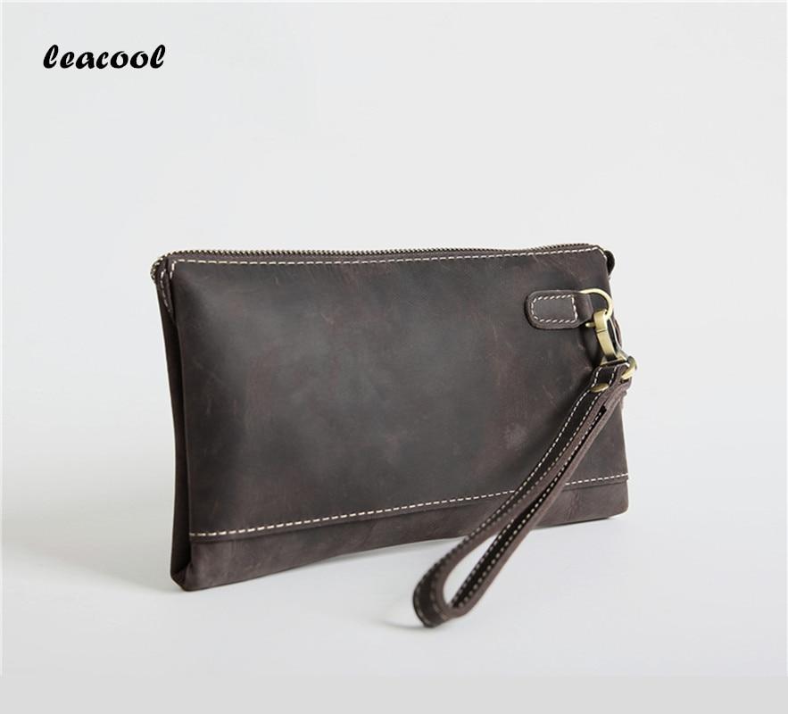Designer Men Wallets Crazy Horse leather Men Long Wallet Clutch Male Wrist Strap Wallet Big Capacity Phone Bag Card Holder