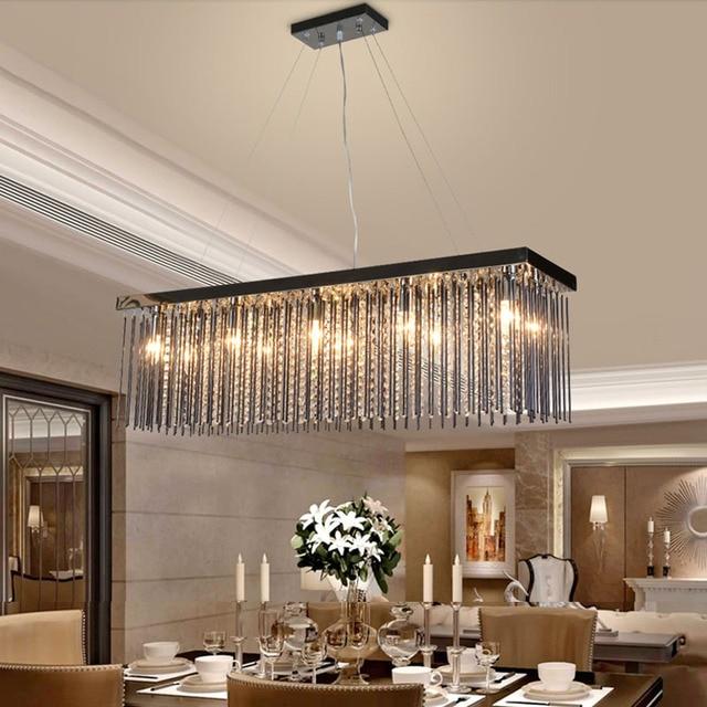 Crystal lamp rechthoekige eetkamer hanglampen hotel eetzaal ...