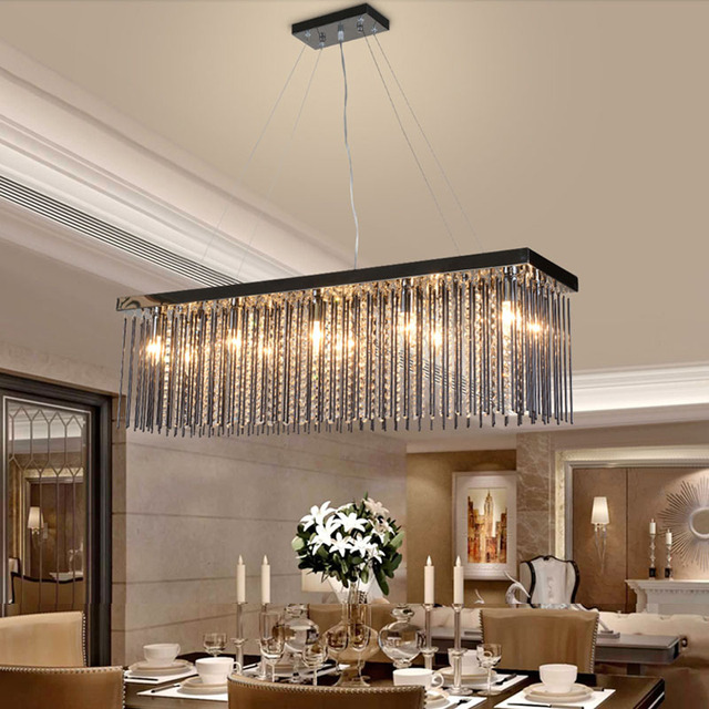 Dining Table Lights: Crystal Lamp Rectangular Dining Room Pendant Lights Hotel