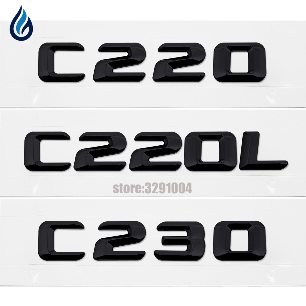 Car Styling For Mercedes Benz C Class W201 W202 W203 W204 C220 C220L C230 Chrome Number Letters Rear Trunk Emblem Badge Sticker car rear trunk security shield cargo cover for mercedes benz ml class w164 ml300 ml350 ml500 2006 2012 high qualit accessories