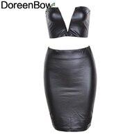 DoreenBow PU Cotton Women Fashion Dress Deep V Tube Top Penciil Dress Set Striped Hot Trend