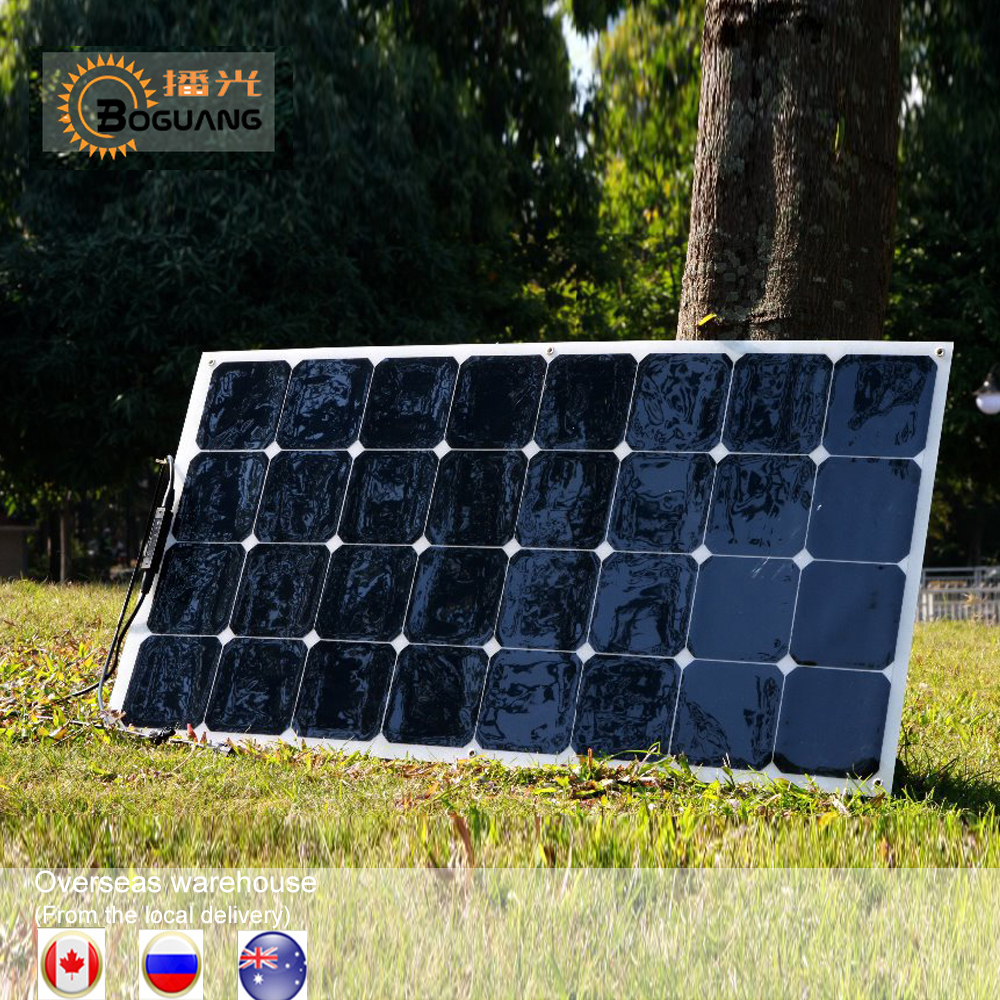 1PCS 2PCS 4PCS 6PCS Flexible Solar Panel 100w Sun Power Monocrystalline Solar Panels 18V 12V Lightweight