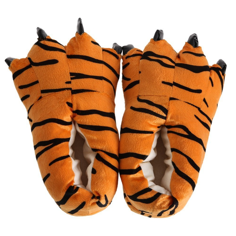 Shoes Warm Slipper Room-Wear Tiger-Handle Fluffy Winter Unisex Combined Soft-Bottom Animal-Mokomoko
