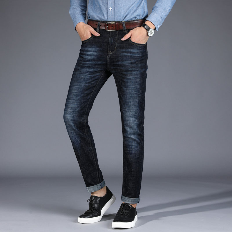 Men Denim Jeans 2018 Young Clothing Mens Stretch Business Slim Straight Jeans Men Smart Casual Dark Blue PARTY trousers 8915
