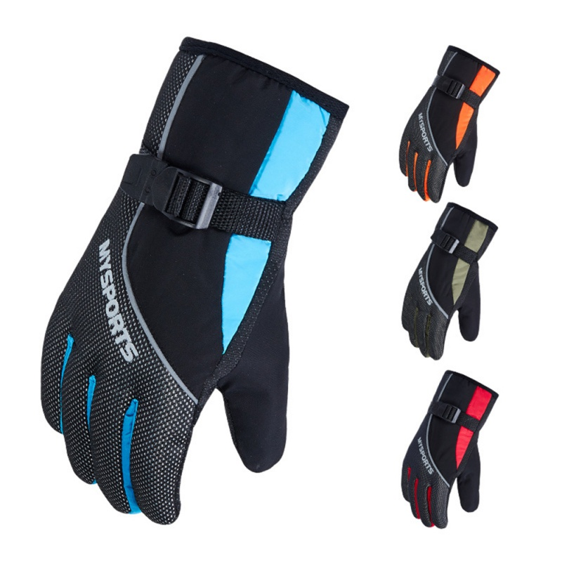 Men Women Waterproof Winter Warm Skiing Gloves Windproof Fleece Thickening Outdoor Sports Riding Motorcycle Snowboard Ski Gloves
