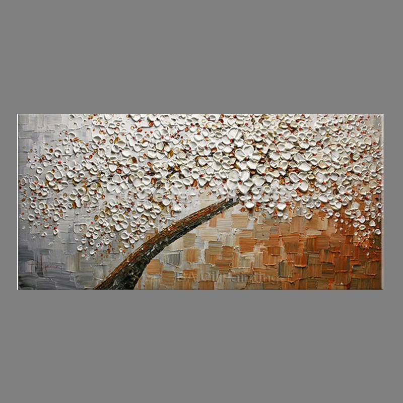 Hand-painted modern home decor wall art picture Brown white Cherry Blossom  tree thick paint