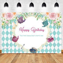 Get more info on the NeoBack Tea Party Flower Wall Birthday Party Photo Background Blue White Lattice Wonderland Girl Baby Dream Photography Backdrop