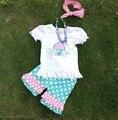 2 - 7 t bebés de moda ropa corta carro niñas de verano trajes set con collar a juego y diadema