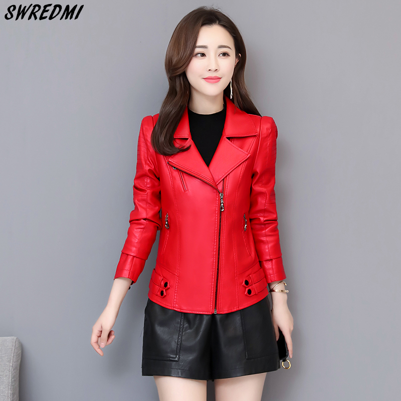 SWREDMI Women Slim   Leather   Jacket Outerwear Female Clothing Outerwear Plus Size 3XL   Leather   Coat For Girls