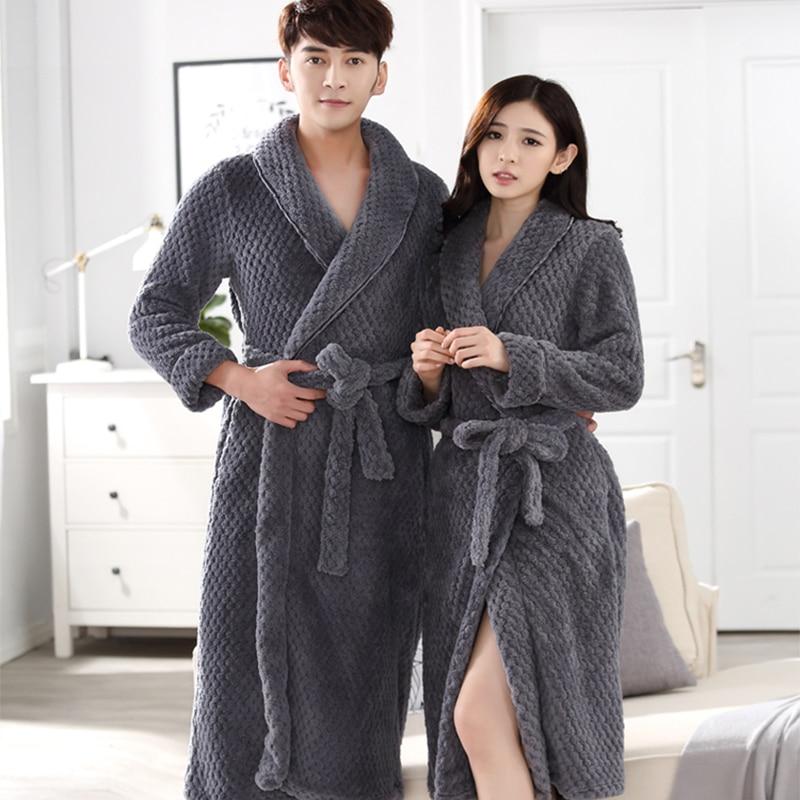 81781d6b92 On Sale Lovers Thick Warm Winter Bathrobe Men Soft as Silk Extra Long  Kimono Bath Robe
