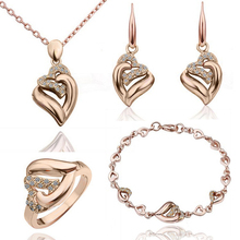 Jewelry-Sets Necklace Earrings Crystal Gold-Filled Heart-Shape Women's Gift Chain Shine