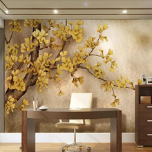 Chinese style ginkgo tree TV background wall painting high-grade cloth manufacturers wholesale wallpaper mural photo