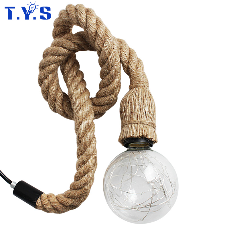 Vintage Hemp Rope Pendant Lights Loft Industrial Style Classical Indoor Lighting Lamp DIY For Edison bulb E27 Rope Light Base edison bulb loft classical vintage pendant light lamp with with glass shade e27 e26 base free shipping