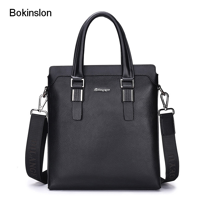 Bokinslon Men Business Bags PU Leather Solid Color Man Crossbody Bag Casual Fashion Male Shoulder Bags unicalling man baggenuine di granville wolf man bag oxford men s business bags fashion solid color portable shoulder bag factory
