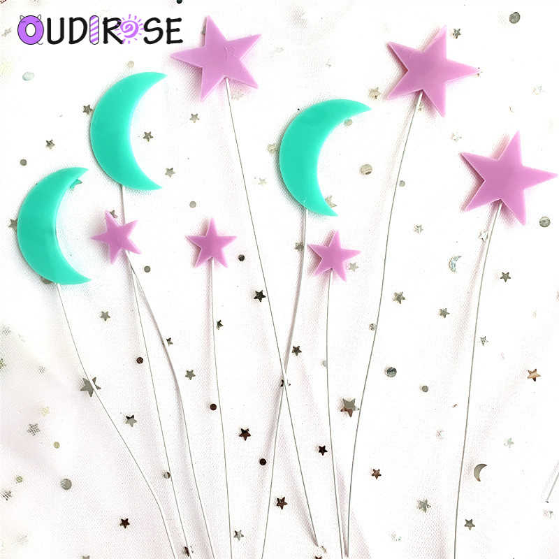 OUDIROSE Doğum Günü Partisi Akrilik Ay Yıldız Kek Topper Doğum Günü Tatlı Dekorasyon çocuk Günü Parti Malzemeleri Güzel Hediyeler