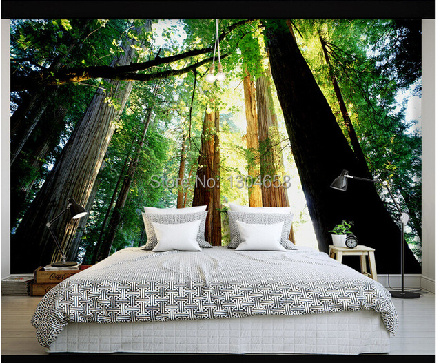 Papeles de vinilo para pared top encargo papel de parede for Dormitorio infantil bosque