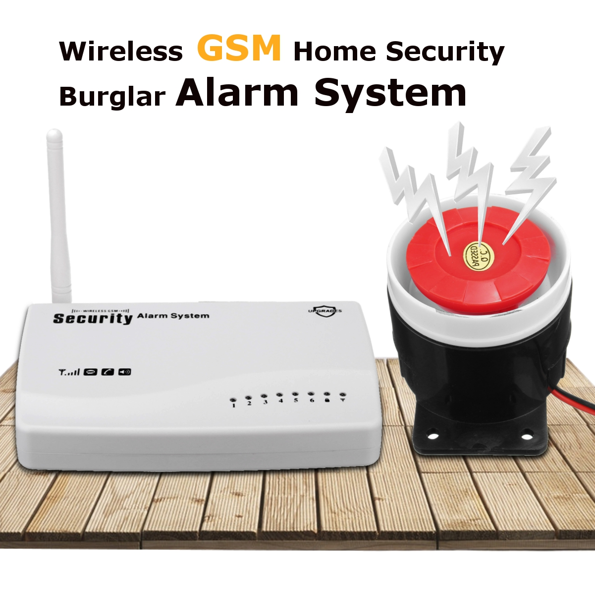 433 MHZ wireless GSM home Burglar security alarm system with Remote Control Wired Siren Power Adapter