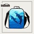 Dispalang refrigerador aislado bolsa de almuerzo portátil dolphin imprimir niños lancheira bolso de múltiples funciones del paquete de comidas de picnic lonchera