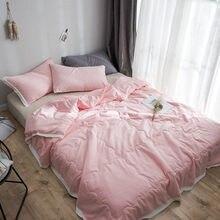 Simple Fashion Print Bedspread Bed Quilt Comforter Washable Soft Duvet Adult Summer Quilt Solid Warm Blanket Bedding Home Decor allover flower print solid quilt