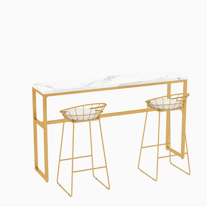 N3B Nordic Solid Wood Wrought Iron Bar Table Against The Wall High Stool Bar Table And Chair Combination Coffee Shop Tea Shop