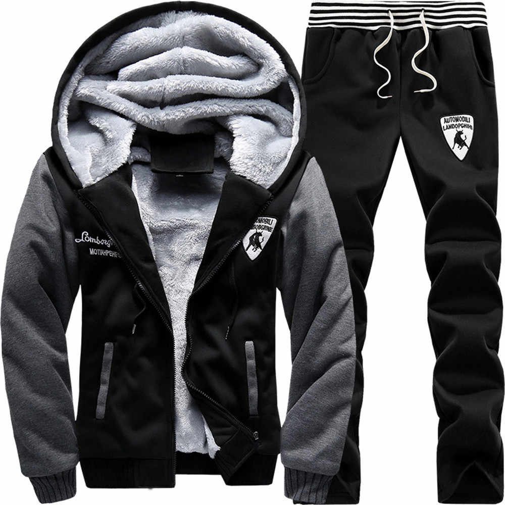 c6c32850 BOLUBAO Men Set Fashion Winter Tracksuits Cardigan Lined Hoodies Sweatshirt  + Pants Track Suit Mens Sports