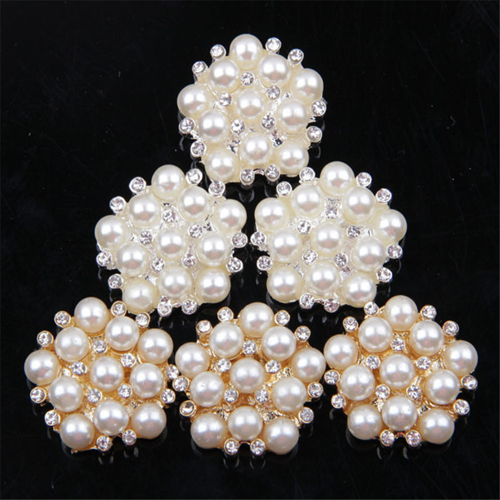 30pcs/lot 22MM Alloy Silver And Golden Pearl Diamond Rhinestone Buttons For Diy Hair Accessories Wedding Decoration