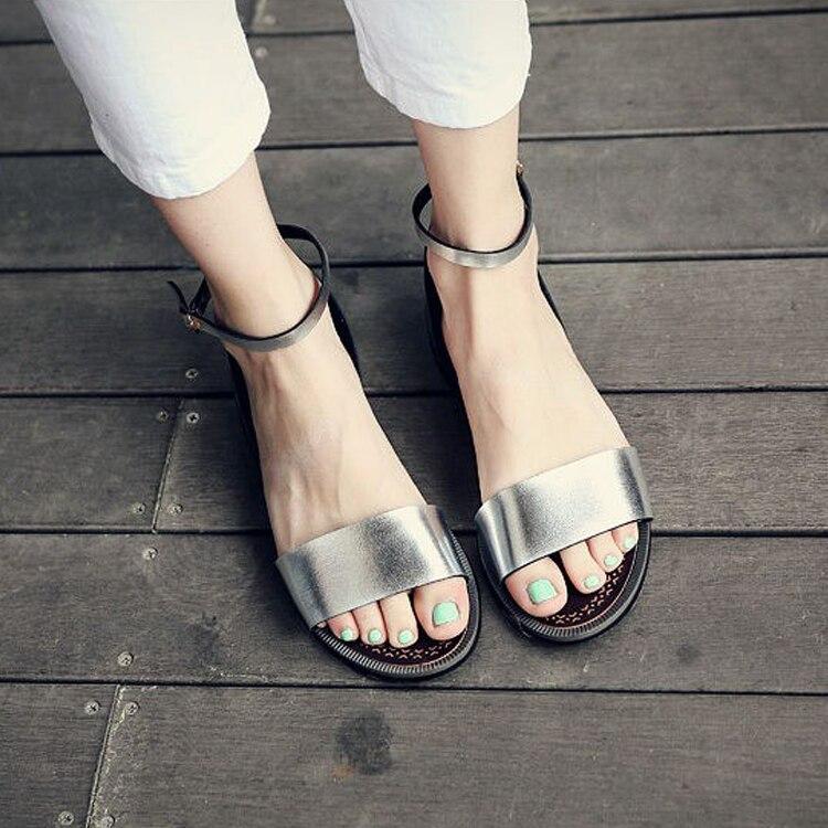 Verano De Plana Sandalias Playa Sandale Nuevo Suave Mujer 2017 Negro Zapatillas Zapatos blanco plata Sólido Cuero oro wxUvEpCq