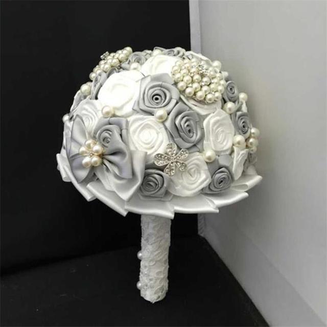 Mode Grau Und Weiss Stil Braut Bouquet Brosche Perlen Hochzeit Blumen