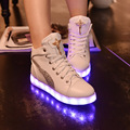 Fashion 8 Colors LED Shoes 2016 Autumn Winter High Top Growing Shoes Luminous casual Shoes Light Up Shoes Inlaid shoes