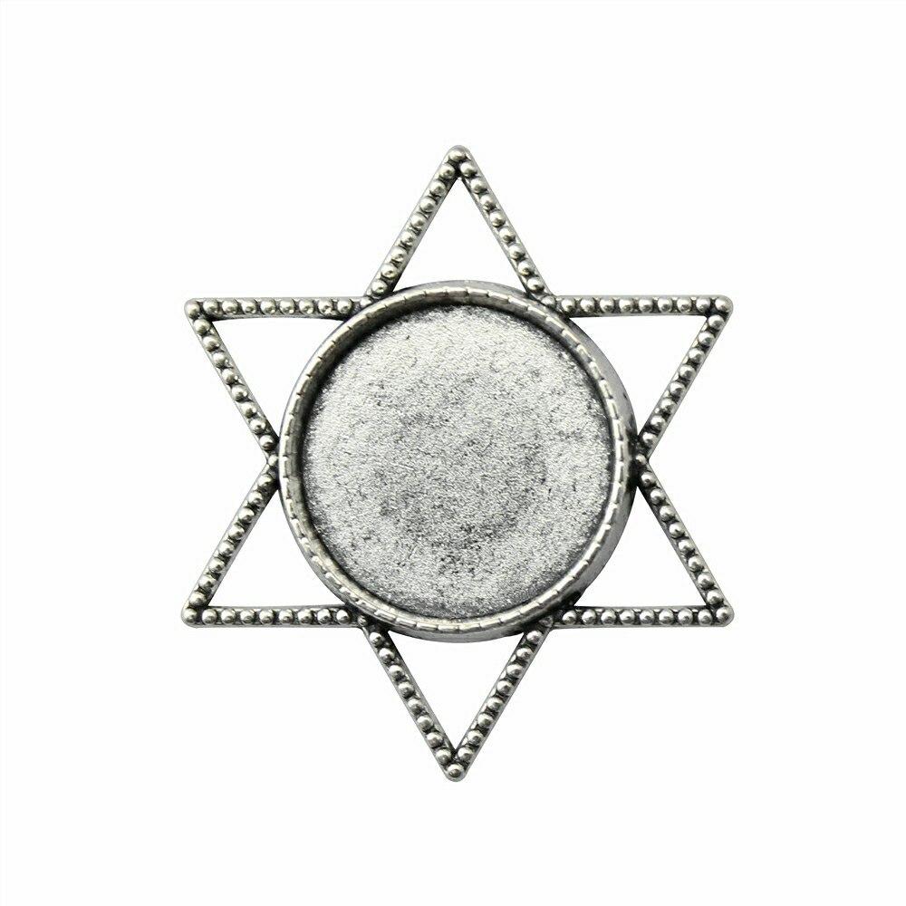 10 шт. 20 мм внутренняя Размеры античная бронза, старинное серебро Цвет Звезда Давида Круглый Кабошон База Установка Подвески для изготовления ювелирных изделий