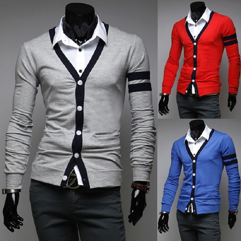 ZOGAA Mens Sweaters Cardigan V-Neck Long-Sleeve Autumn Winter Casual Fashion Solid
