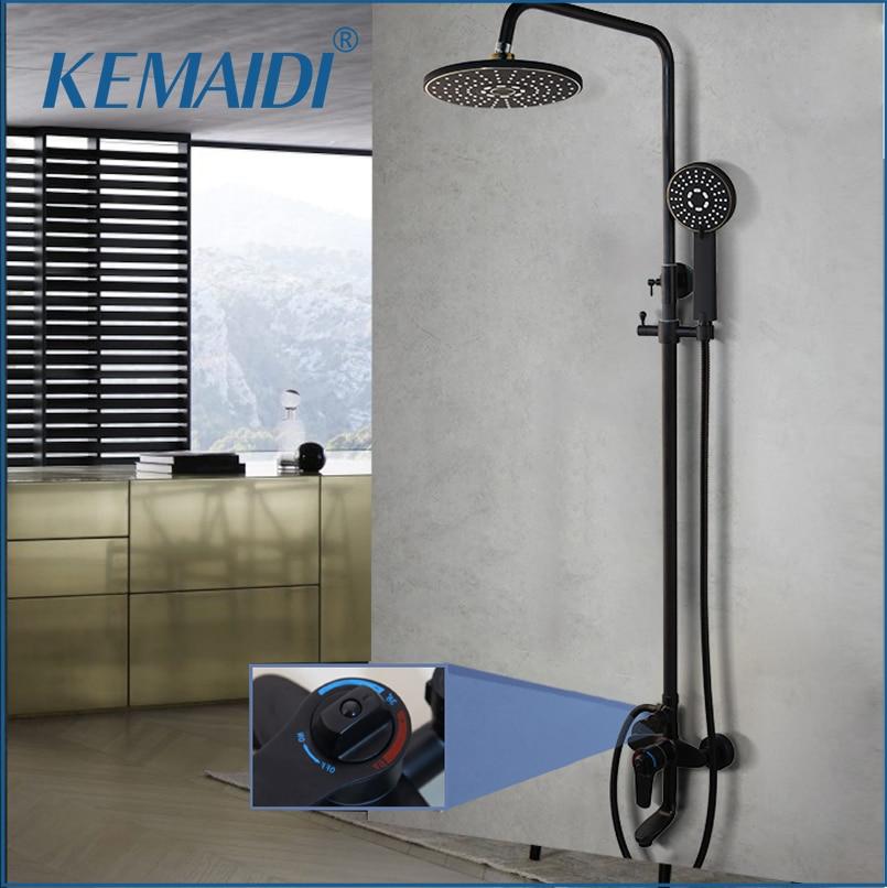 KEMAIDI Thermostatic Shower Faucet Chrome Color Bathroom Bath Shower Mixer Set Waterfall Rain Shower Head Bathtub