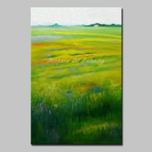 Mintura 100% Handmade Modern Abstract Oil Painting Green Grasslands Plants Draw Hotel Decor Home Decoration Canvas Art No Framed(China)