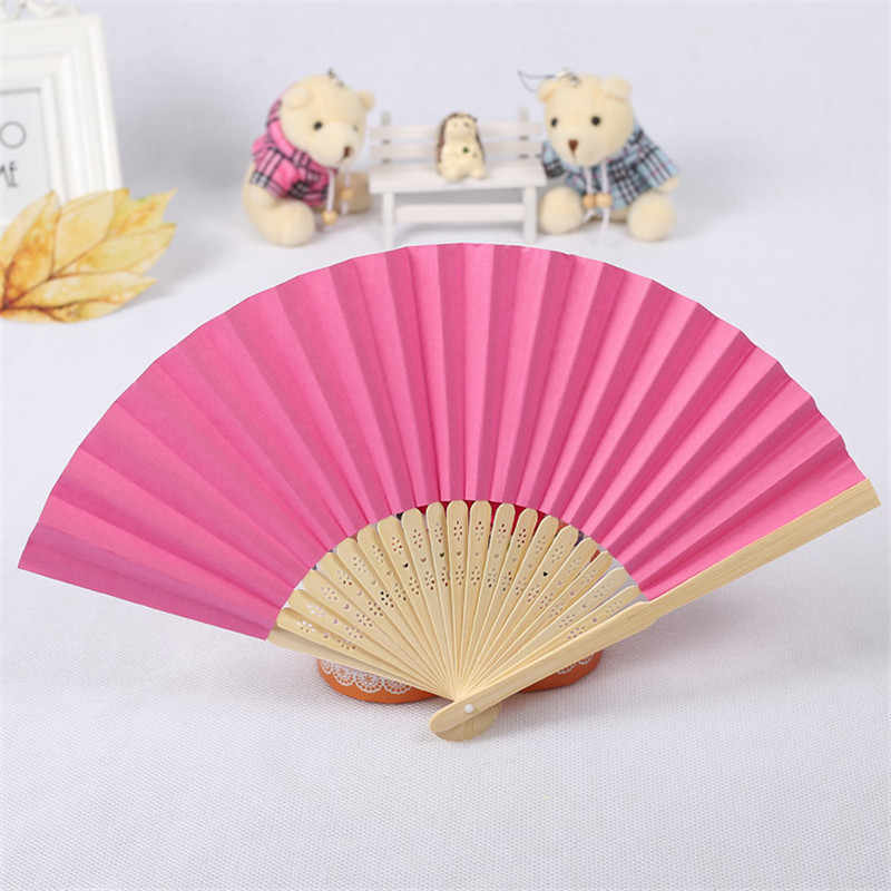 Pattern Folding Dance Wedding Party Lace Edging Plastic Ribbing Folding Hand Held Solid Color Fan Drop Shipping