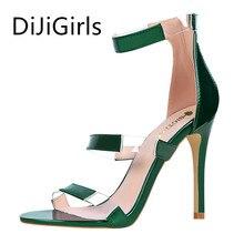 ФОТО dijigirls woman sandals fashion pu splice transparencies high heels shoe sexy narrow band stiletto party women shoes