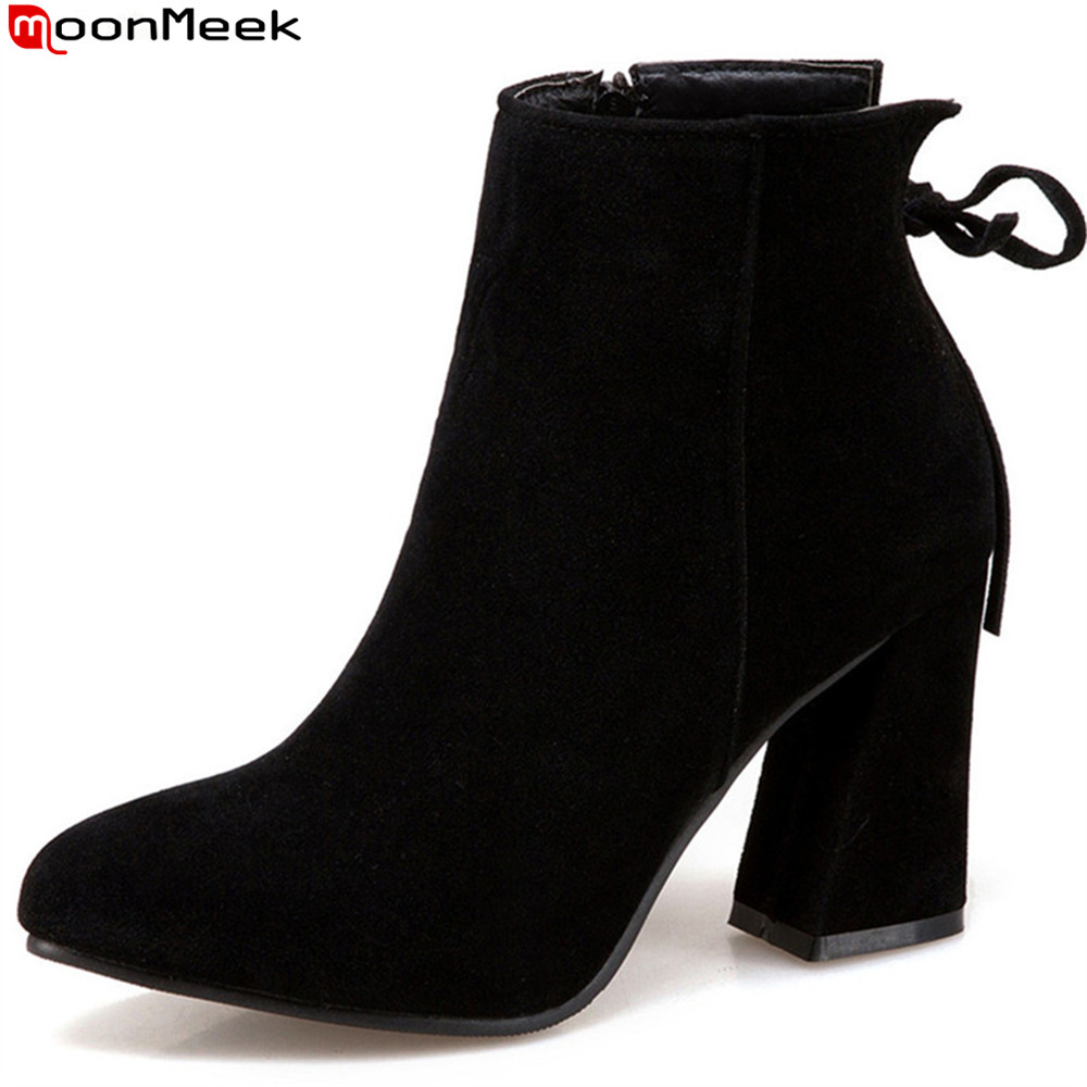 MoonMeek fashion autumn winter new arrive women boots round toe ladies boots black army green ankle boots plus size 34-47
