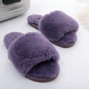Image 5 - Millffy pelliccia di lana pantofole a casa di aria condizionata in camera pantofole di pelle di pecora pelliccia pantofole scarpe da casa delle donne