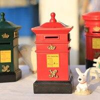 Zakka European British Style Retro Resin Craft Nostalgia Mailbox Piggy Red 4 Corners Postboxes Green 6