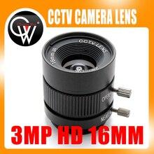 """3MP HD 16 מ""""מ ידני עדשת C הר עדשה תעשייתית 1/2 איריס טלוויזיה במעגל סגור עדשה למצלמת HD מצלמה מצלמת ip"""