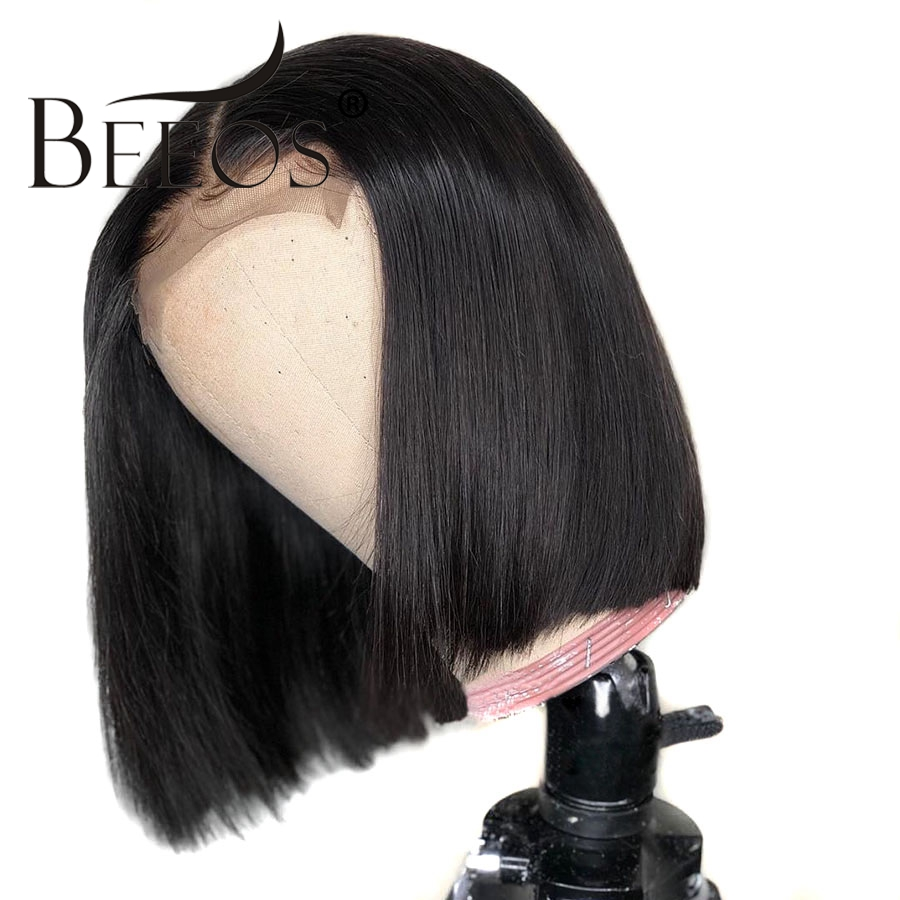 BEEOS Women Short Bob Wigs Glueless Lace Front Human Hair Wigs Pre Plucked with Baby Hair