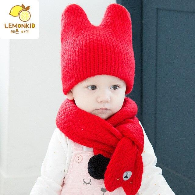59871158fc4 Lemonkid Korean children hat scarf Autumn and winter new models Baby Wool  Hat Scarf Winter Knitting Kit