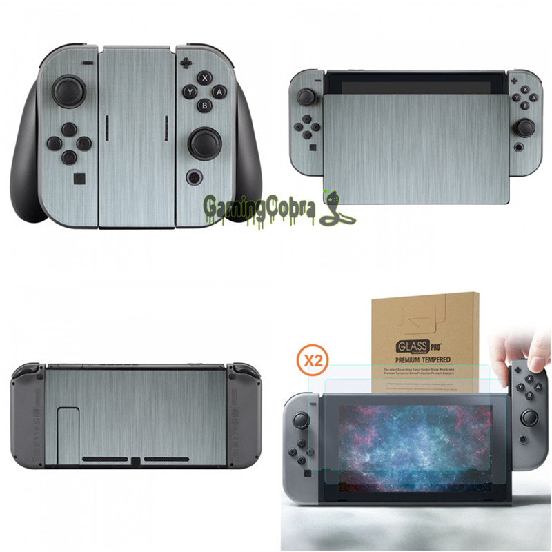 Silver Skin Sticker Covers + 2 Pcs Glass Screen Protectors for Nintendo Switch Console Joy-con - YSNS0344+NSPJ0014GC