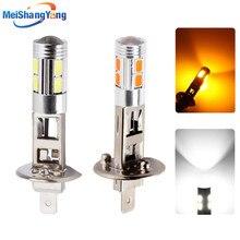 цена на H1 Led Bulbs Super Bright White High Power 10 SMD 5630 Auto LED H1 Car Light Fog Signal Turn Light Driving DRL Lamp 12V Yellow